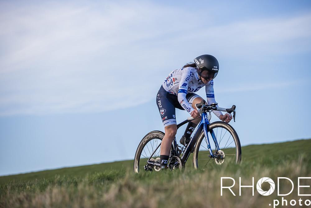 Eugénie Duval (FRA/FDJ Nouvelle-Aquitaine Futuroscope)<br /> <br /> Healthy Ageing Tour (NED) 2021<br /> UCI Women Elite 2.1<br /> Stage 2 : Individual Time Trial (ITT) – Lauwersoog – Het Hoogeland 14.4km<br /> <br /> ©RhodePhoto