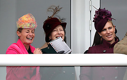 Dolly Maude (left), The Princess Royal and Zara Tindall watch the race action during Ladies Day of the 2019 Cheltenham Festival at Cheltenham Racecourse.