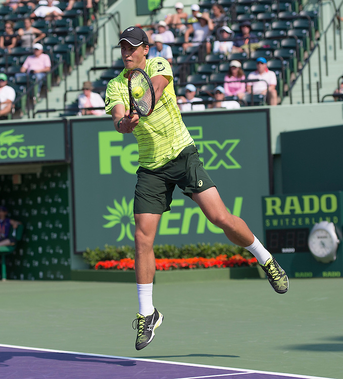 Key Biscayne, FL - March 26: Vasek Pospisil(CAN) defeats Juan Martin Del Potro(ARG) to move into the 2nd round of the 2015 Miami Open in Key Biscayne, Florida. Photographer Andrew Patron - CameraSport/BigShots<br /> <br /> Tennis - 2015 Miami Open presented by Itau - Crandon Park Tennis Center - Key Biscayne, Florida - USA - Day 4, Thursday 26th March 2015<br /> <br /> © CameraSport - 43 Linden Ave. Countesthorpe. Leicester. England. LE8 5PG - Tel: +44 (0) 116 277 4147 - admin@camerasport.com - www.camerasport.com