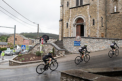 Mitchelton Scott Cycling Team lead at the bottom of the first categorised climb of the Liege-Bastogne-Liege Femmes - a 138.5 km road race, between Bastogne and Liege on April 28, 2019, in Wallonie, Belgium. (Photo by Balint Hamvas/Velofocus.com)