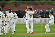 Wicket - Tim Groenewald of Somerset celebrates taking the wicket of Travis Head of Worcestershire during the Specsavers County Champ Div 1 match between Somerset County Cricket Club and Worcestershire County Cricket Club at the Cooper Associates County Ground, Taunton, United Kingdom on 22 April 2018. Picture by Graham Hunt.