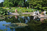 Lake with water lillies and people enjoying the sunshine, Park Planten un Blomen, Hamburg, Germany.
