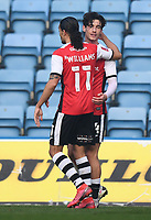 Football - 2020 / 2021 Emirates FA Cup - Round 2 - Gillingham vs Exeter City - Priestfield Stadium<br /> <br /> Exeter City's Joel Randall celebrates scoring his side's third goal with Randell Williams.<br /> <br /> COLORSPORT/ASHLEY WESTERN