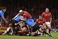 Jake Ball of Wales barges through the Uruguay defence,.Rugby World Cup 2015 pool A match, Wales v Uruguay at the Millennium Stadium in Cardiff, South Wales  on Sunday 20th September 2015.<br /> pic by  Andrew Orchard, Andrew Orchard sports photography.