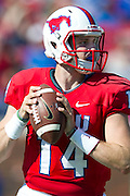 DALLAS, TX - OCTOBER 25:  Garrett Krstich #14 of the SMU Mustangs drops back to pass against the Memphis Tigers during the 1st quarter on October 25, 2014 at Gerald J. Ford Stadium in Dallas, Texas.  (Photo by Cooper Neill/Getty Images) *** Local Caption *** Garrett Krstich