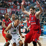 CSKA Moscow's Nenad Krstic (R) and Panathinaikos's Sarunas Jasikevicius (L) during their Euroleague Final Four semifinal Game 1 basketball match CSKA Moscow's between Panathinaikos at the Sinan Erdem Arena in Istanbul at Turkey on Friday, May, 11, 2012. Photo by TURKPIX
