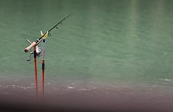 THEMENBILD - eine ausgeworfene Fischerangel steht am Uferrand eines See, aufgenommen am 10. Juni 2019, Kaprun, Österreich // a cast fishing rod stands on the edge of a lake on 2019/06/10, Kaprun, Austria. EXPA Pictures © 2019, PhotoCredit: EXPA/ Stefanie Oberhauser
