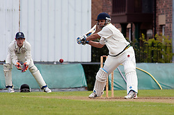 Cricket Wickersley v Whitley Hall,  Wickersley No 2 batsman  Headir Jounger and whitley hall wicket keeper Tom Soresby..12  May 2012.Image © Paul David Drabble