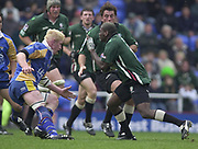 Reading, Berkshire, 20th April 2003,  ZURICH PREMIERSHIP RUGBY, The Madejski Stadium,  [Mandatory Credit: Peter Spurrier/Intersport Images],<br /> <br /> Zurich Premiership Rugby London Irish v Leeds<br /> Paul Scakey runs at leeds flanker Cameron Mather as he breakswith the ball.
