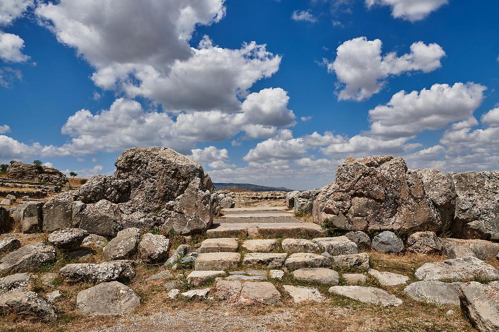 Entrance of Temple I, Hattusa (also Ḫattuša or Hattusas) late Anatolian Bronze Age capital of the Hittite Empire. Hittite archaeological site and ruins, Boğazkale, Turkey.