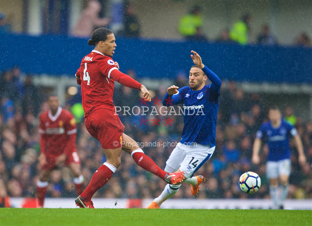 LIVERPOOL, ENGLAND - Saturday, April 7, 2018: Liverpool's Virgil van Dijk (left) and Everton's Cenk Tosun during the FA Premier League match between Everton and Liverpool, the 231st Merseyside Derby, at Goodison Park. (Pic by David Rawcliffe/Propaganda)