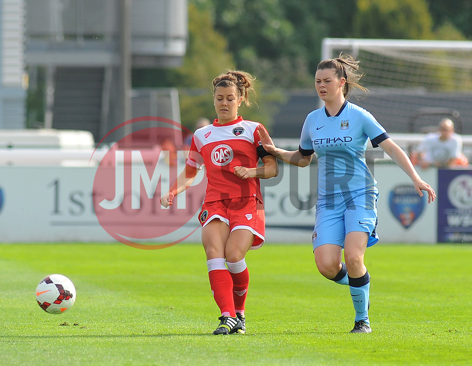 Bristol Academy Womens' Jemma Rose loses ball possession. - Photo mandatory by-line: Nizaam Jones- Mobile: 07583 387221 - 28/09/2014 - SPORT - Women's Football - Bristol - SGS Wise Campus - BAWFC v Man City Ladies - sport