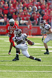 18 October 2008: Kingjack Washington makes a twisting turn as Jason Tate heads his way after he breaks into the secondary in a game which the Missouri State Bears came from behind to beat the Illinois State Redbirds 34-28 in front of 13,292 fans at Hancock Stadium on Illinois State Universities campus in Normal Illinois