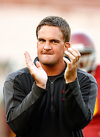 22 August 2007: Defensive Line coach David Watson supporting players during  USC Trojans NCAA Pac-10 college football team fall intrasquad scrimmage at the LA Memorial Coliseum on Wednesday night infront of 18,000 fans who attended for free.