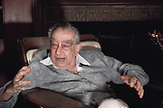"Hungarian-born American physicist Edward Teller, who is best known as ""the father of the hydrogen bomb"". Seen here at his home in Stanford, California. Born in 1908, he obtained his Ph.D. at the University of Leipzig. He left Europe in the 1930s because of the Nazi threat. During World War II he worked at Los Alamos on the development of the atom bomb. In the late 1940s & early 1950s he championed development of the H-bomb & achieved the crucial technical breakthrough that made the bomb possible. The first H-bomb was exploded in the South Pacific in 1952. MODEL RELEASED.Teller died in Stanford, California on September 9, 2003. (Photograph, 1988)"