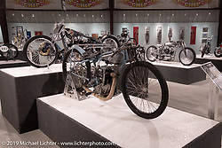 Billy Lane's 1935 Crocker Alcohol Speedway Racer in the What's the Skinny Exhibition (2019 iteration of the Motorcycles as Art annual series) at the Sturgis Buffalo Chip during the Sturgis Black Hills Motorcycle Rally. SD, USA. Thursday, August 8, 2019. Photography ©2019 Michael Lichter.