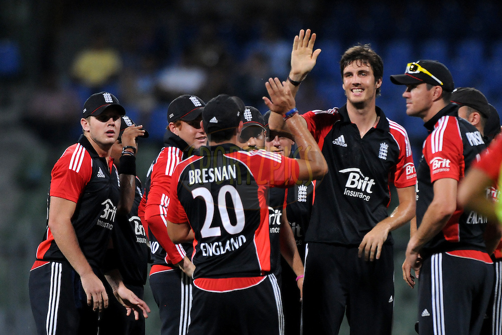 Steven Finn of England celebrates the wicket of Gautam Gambhir of India during the 4th One Day International ( ODI ) match between India and England held at the Wankhede Stadium, Mumbai on the 23rd October 2011..Photo by Pal Pillai/BCCI/SPORTZPICS