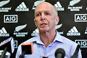 All Blacks Sevens head coach Sir Gordon Tietjens speaks to the media during the All Blacks Sevens squad announcement at the Westpac Stadium in Wellington on Wednesday the 19th of August 2015. Copyright photo by Marty Melville / www.Photosport.nz