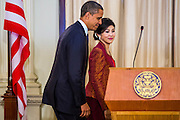 18 NOVEMBER 2012 - BANGKOK, THAILAND:   US President Barack Obama and Thai Prime Minister Yingluck Shinawatra walk into the joint press conference with President Obama and Prime Minister Shinawatra in Government House on November 18, 2012 in Bangkok, Thailand. Obama will become the first serving US President to visit Myanmar during his four-day tour of Southeast Asia that will also include visits to Thailand and Cambodia.    PHOTO BY JACK KURTZ