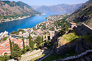 Kotor bay from the fortifications above Kotor town, Montenegro .<br /> <br /> Visit our MONTENEGRO HISTORIC PLAXES PHOTO COLLECTIONS for more   photos  to download or buy as prints https://funkystock.photoshelter.com/gallery-collection/Pictures-Images-of-Montenegro-Photos-of-Montenegros-Historic-Landmark-Sites/C0000AG8SdQ.sYLU