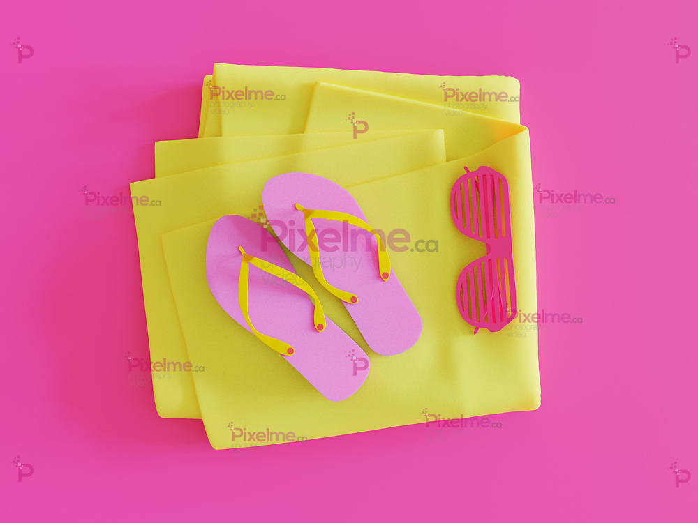 Summer Shutter Sunglasses Flip Flop sandals in magenta and yellow towel minimalistic above view - 3d rendering