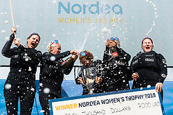190707 Wings of Sweden with Anna Östling, Marie Berg, Annika Carlunger, Annie Wennergren and Linnéa Wennergren celebrate at the podium with their trophy for the win in the Women's Trophy final during day five of Match Cup Sweden on July 7, 2019 in Marstrand.<br />