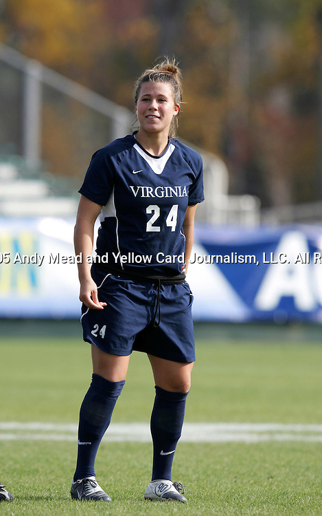 Virginia's Kelly Quinn on Sunday, November 6th, 2005 at SAS Stadium in Cary, North Carolina. The University of North Carolina Tarheels defeated the Virginia Cavaliers 4-1 in the Championship Game of the Atlantic Coast Conference Women's Soccer Tournament.