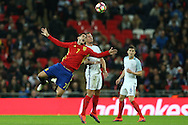 Alvaro Morata of Spain is challenged by Phil Jagielka of England. England v Spain, Football international friendly at Wembley Stadium in London on Tuesday 15th November 2016.<br /> pic by John Patrick Fletcher, Andrew Orchard sports photography.