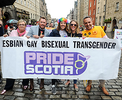 Pictured: marchers were led by MSP's and MP's, including Joanna Cherry, Kezia Dugdale, Jenny Gilruth and Alex Cole-Hamilton.<br /> <br /> Thousands of marchers rallied outside the Scottish Parliament to celebrate the annual Scotia Pride event in Edinburgh.<br /> <br /> © Dave Johnston / EEm