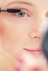 Close-up View of Woman Applying Mascara