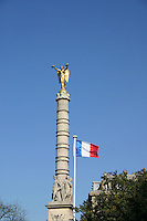Monument and french flag, Paris, France<br />