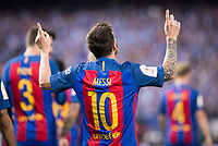 FC Barcelona's forward Leo Messi celebrating a goal during Copa del Rey (King's Cup) Final between Deportivo Alaves and FC Barcelona at Vicente Calderon Stadium in Madrid, May 27, 2017. Spain.<br /> (ALTERPHOTOS/BorjaB.Hojas)