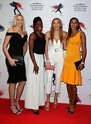 Netball players Joanne Harten, Ama Agbeze, Helen Housby and Geva Mentor arriving during The 2018 Sunday Times Sportswomen of the Year Awards Ceremony at The News Building, London. PRESS ASSOCIATION Photo. Picture date: Thursday November 1, 2018. Photo credit should read: Steven Paston/PA Wire.