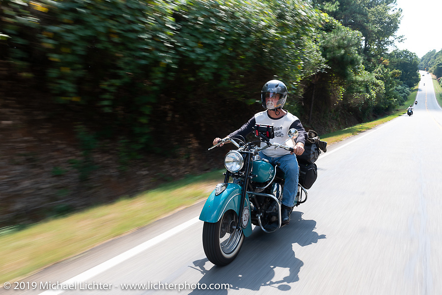 Joe Ferri riding his restored 1947 Indian Chief in the Cross Country Chase motorcycle endurance run from Sault Sainte Marie, MI to Key West, FL. (for vintage bikes from 1930-1948). Stage-6 from Chattanooga, TN to Macon, GA USA covered 258 miles. Wednesday, September 11, 2019. Photography ©2019 Michael Lichter.