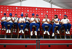 Team Europe's players and captain during a press conference after defeat to Team USA at the end of day three of the 43rd Ryder Cup at Whistling Straits, Wisconsin. Picture date: Sunday September 26, 2021.