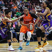 UNCASVILLE, CONNECTICUT- MAY 26:  Alex Bentley #20 of the Connecticut Sun drives to the basket past Alana Beard #0 of the Los Angeles Sparks and Nneka Ogwumike #30 of the Los Angeles Sparks during the Los Angeles Sparks Vs Connecticut Sun, WNBA regular season game at Mohegan Sun Arena on May 26, 2016 in Uncasville, Connecticut. (Photo by Tim Clayton/Corbis via Getty Images)