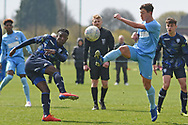 Leeds United forward Henri Kumwenda shoots at goal during the U18 Professional Development League match between Coventry City and Leeds United at Alan Higgins Centre, Coventry, United Kingdom on 13 April 2019.
