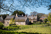 Hamptonne Farm and Museum with its thatched roofs and surrounding fields in the heart of the St Lawrence countryside in Jersey, CI