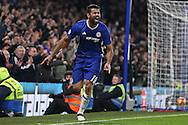 Diego Costa of Chelsea celebrates after scoring his sides 4th goal. Premier league match, Chelsea v Stoke city at Stamford Bridge in London on Saturday 31st December 2016.<br /> pic by John Patrick Fletcher, Andrew Orchard sports photography.