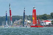 Team China crosses through the fleet sailing to windward in race two. Race Day. Event 4 Season 1 SailGP event in Cowes, Isle of Wight, England, United Kingdom. 11 August 2019: Photo Chris Cameron for SailGP. Handout image supplied by SailGP