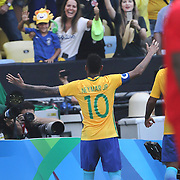 Football - Olympics: Day 12   Neymar #10 of Brazil celebrates towards people in the stand after scoring from the penalty spot during the Brazil Vs Honduras Men's Semifinal match at Maracana Stadium on August 17, 2016 in Rio de Janeiro, Brazil. (Photo by Tim Clayton/Corbis via Getty Images)