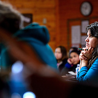 011514       Cable Hoover<br /> <br /> Ganado Elementary School teacher Margaret Yarmush listens to presentations from NASA scientists during a workshop at Navajo Technical University in Crownpoint Wednesday.
