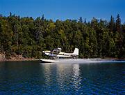 Former Alaska Governor Jay Hammond landing his Cessna 180 on floats in Hardenburg Bay of Lake Clark, Port Alsworth, Alaska.