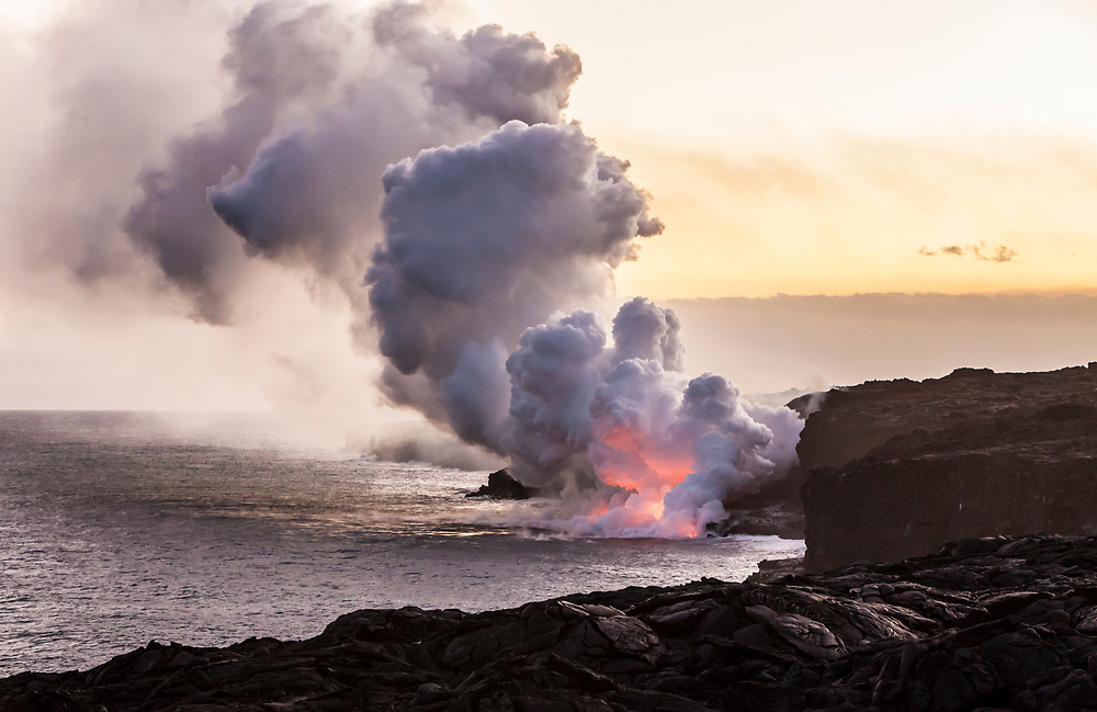 Lava flowing into the Pacific ocean from the East Rift Zone in Puna, Hawaii, USA. April 6th, 2017.