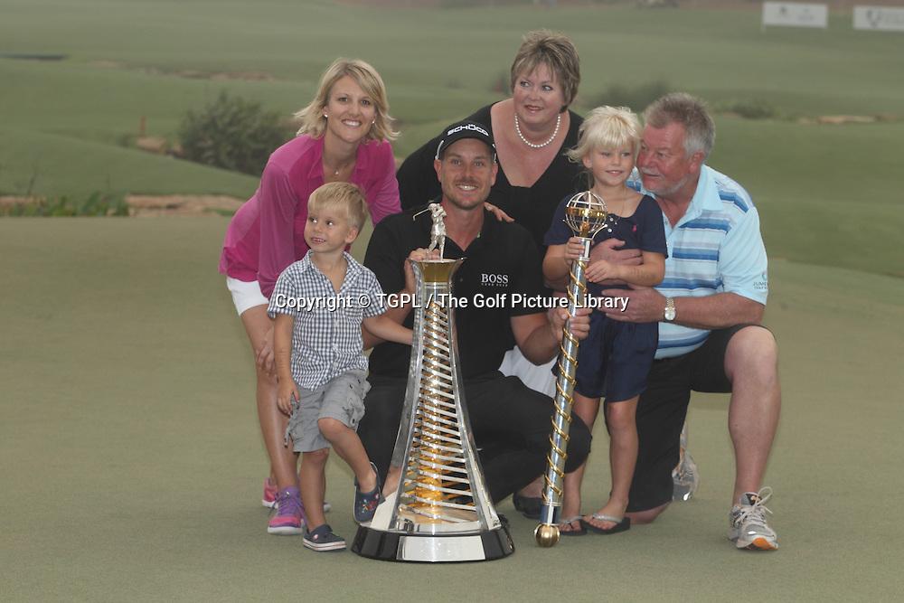 Henrik STENSON (SWE) with family and his Mum and Dad plus trophies during fourth round DP World Tour Championship 2013,Jemeirah Golf Estates, Dubai,UAE.