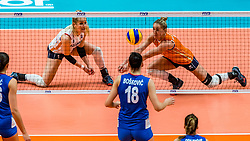 19-10-2018 JPN: Semi Final World Championship Volleyball Women day 18, Yokohama<br /> Serbia - Netherlands / Kirsten Knip #1 of Netherlands, Maret Balkestein-Grothues #6 of Netherlands