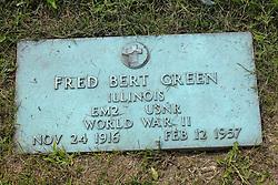 31 August 2017:   Veterans graves in Park Hill Cemetery in eastern McLean County.<br /> <br /> Fred Bert Greem  Illinois  EM2  USNR  World War II  Nov 24 1916  Feb 12 1957