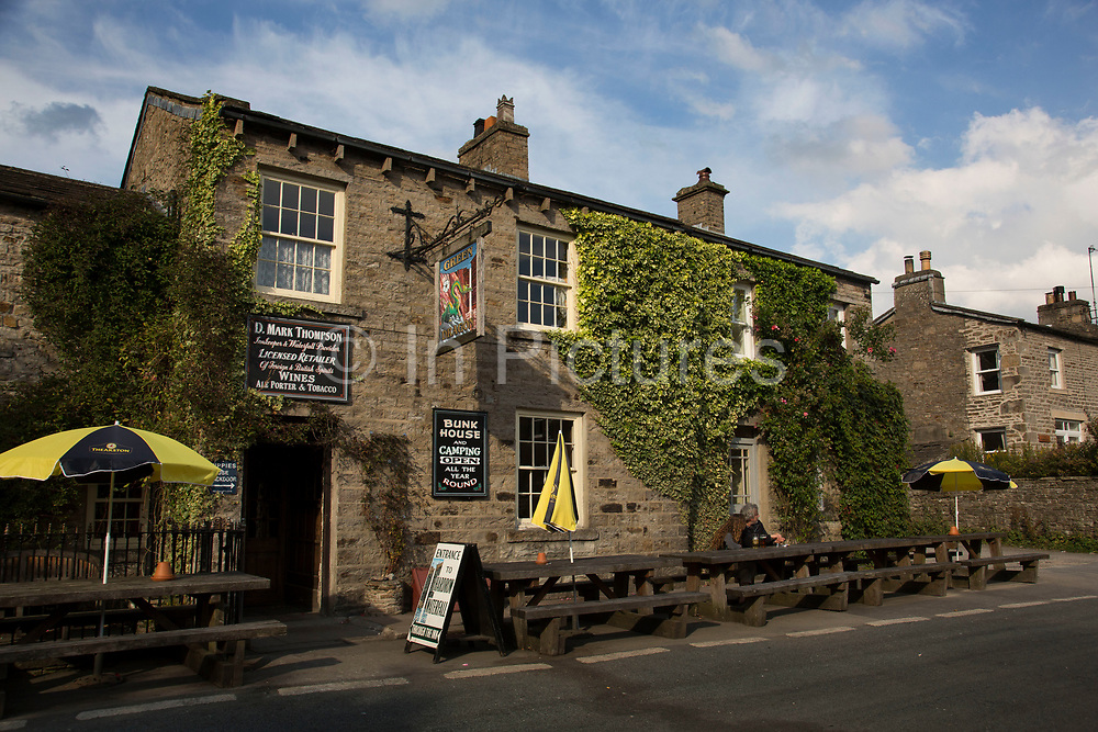 The Green Dragon Inn pub in the Swaledale village of Hardraw in the North Yorkshire Dales. Yorkshire, England, UK.