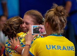 October 8, 2018 - Buenos Aires, ARGENTINA - 181009 2018 Youth Olympic Games, Day 3: Kateryna Chorniy UKR celebrates with her team after defeating Kaylin Sin Yan Hsieh HKG in the Gold Medal Bout of the Fencing Womens E?pe?e Individual in the Africa Pavilion, Youth Olympic Park during The Youth Olympic Games, Buenos Aires, Argentina Monday 8th October 2018. Photo: Florian Eisele for OIS/IOC. Handout image supplied by OIS/IOC  (Credit Image: © Florian Eisele For Ois/Bildbyran via ZUMA Press)