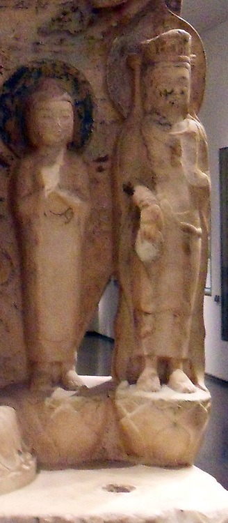 Detail from a Buddhist votive stele 550-577 AD. Northern Qi dynasty (550-577 AD) white marble. China, Hebei (province)